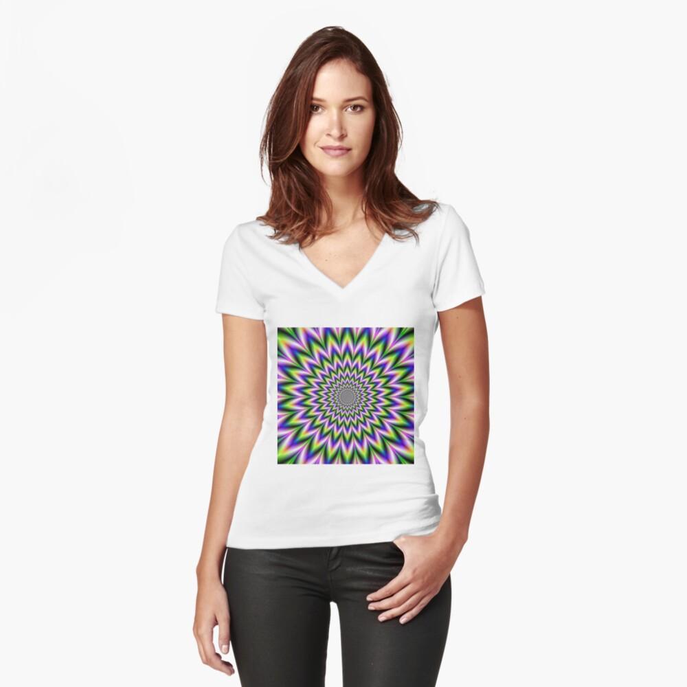 Psychedelic, Optical art, Op art, Vibration Fitted V-Neck T-Shirt