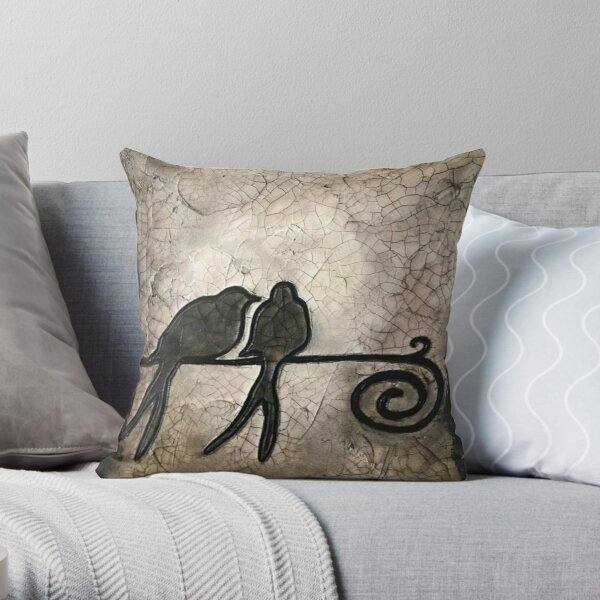 Two Birds Silhouette, Bird on a Wire, Crackle Art Throw Pillow