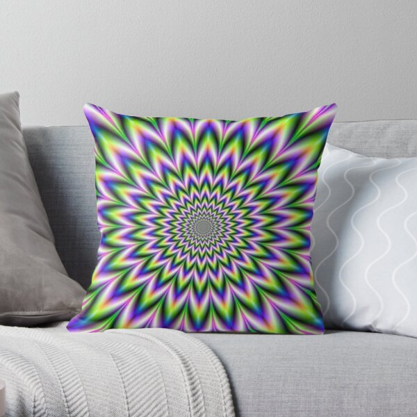 Psychedelic, Optical art, Op art, Vibration Throw Pillow