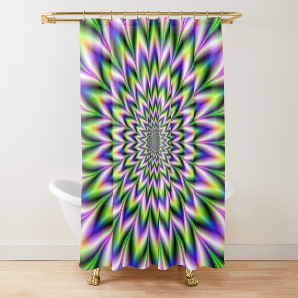 Psychedelic, Optical art, Op art, Vibration Shower Curtain