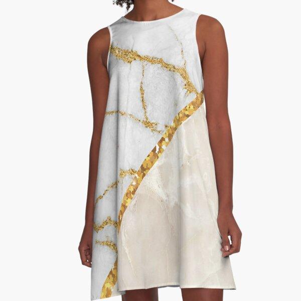 Fancy Stripped Marble A-Line Dress