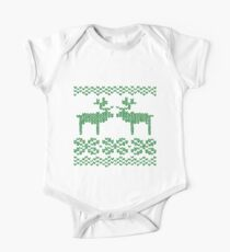 Christmas Jumper Green on White One Piece - Short Sleeve