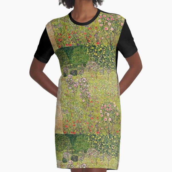 Gustav Klimt - Orchard With Roses - Beautiful floral landscape Graphic T-Shirt Dress