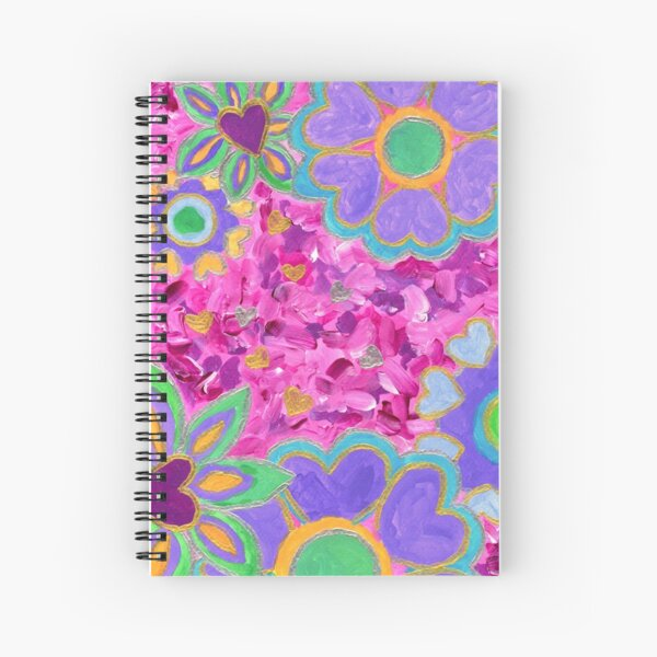 Girly Heart-Shaped Valentine Floral Acrylic Painting Spiral Notebook