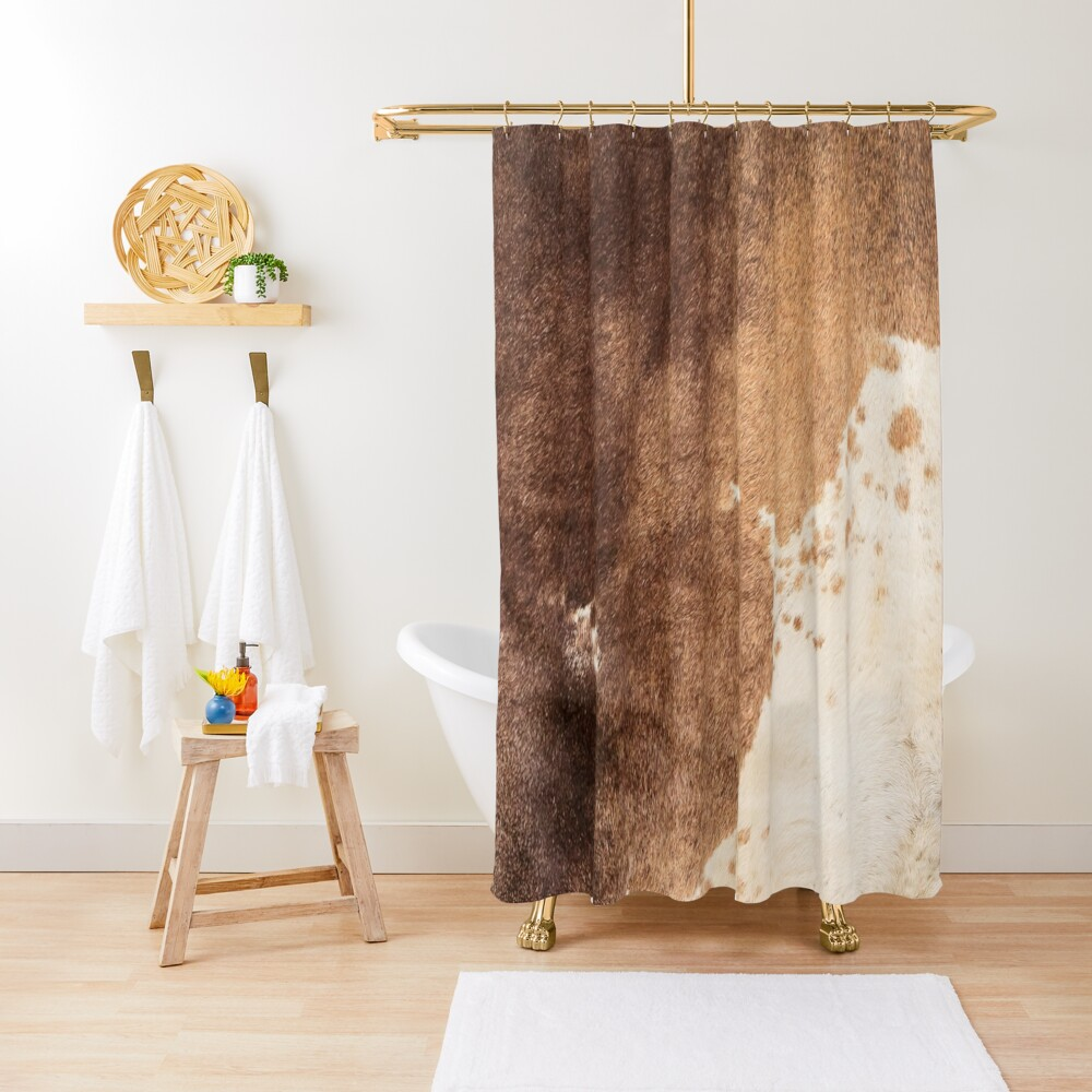 Old Tan Cowhide Leather Shower Curtain