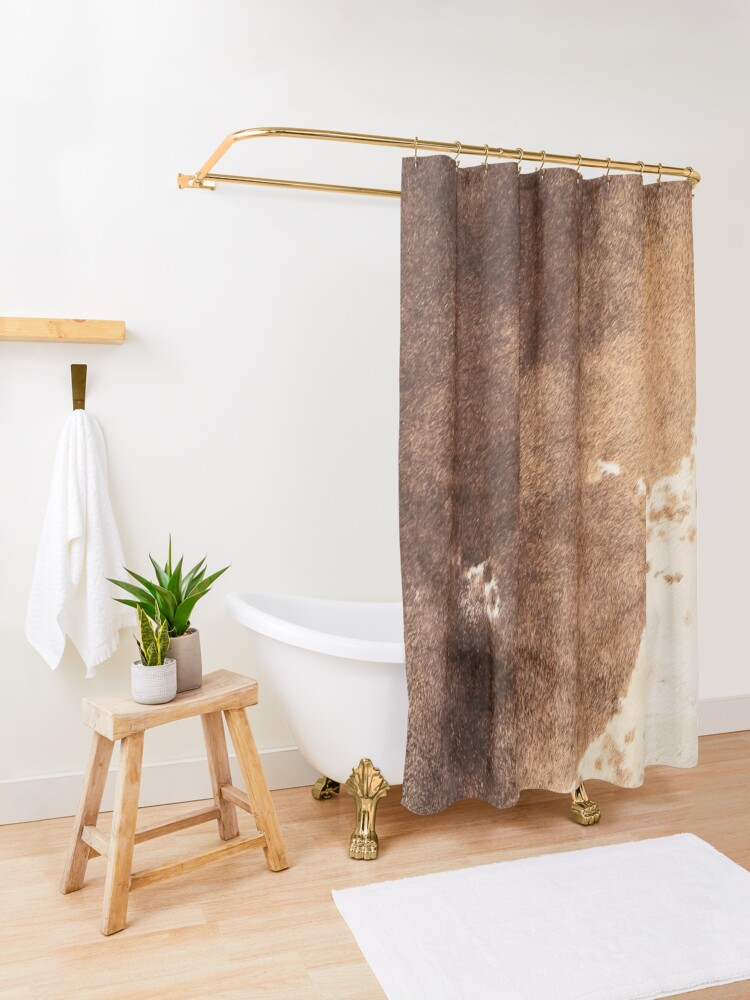 Alternate view of Old Tan Cowhide Leather Shower Curtain
