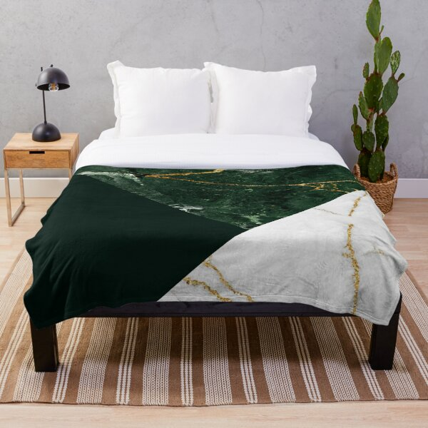 Emerald and Marble Composition Throw Blanket