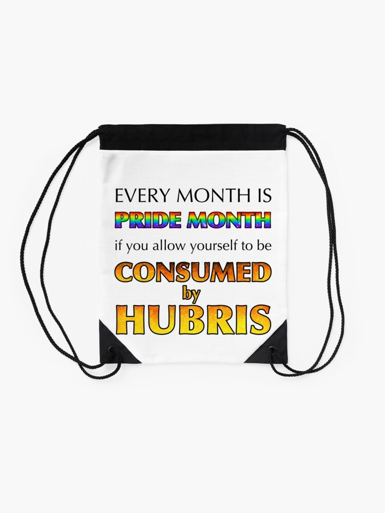 Alternate view of Consumed By Hubris Drawstring Bag