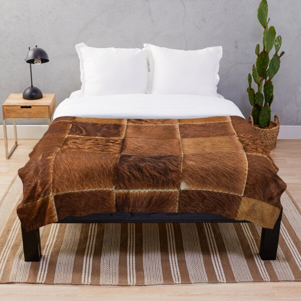 Brown Checkered Cowhide Patches Throw Blanket