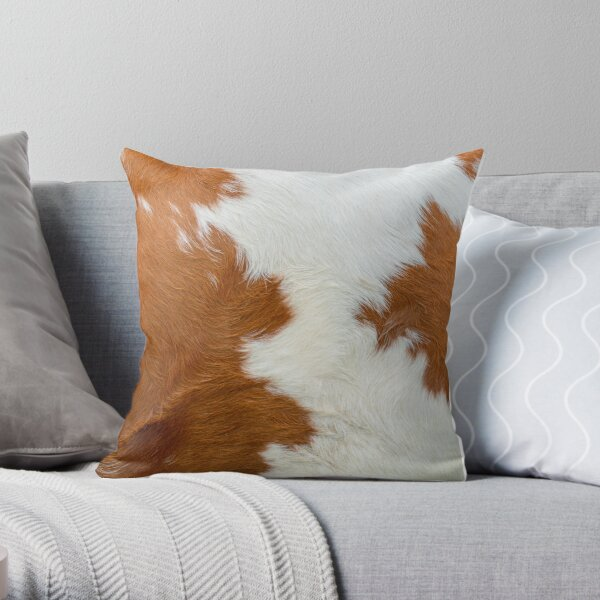 Faux Cattle Skin Throw Pillow