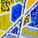 Geometric Blue and Yellow Abstract Acrylic Painting by Beverly Claire Kaiya