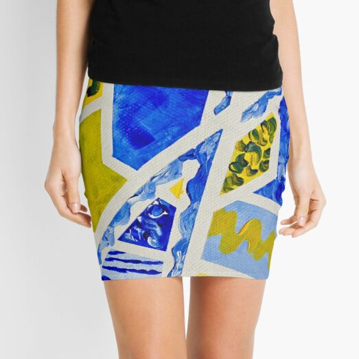 Geometric Blue and Yellow Abstract Acrylic Painting Mini Skirt