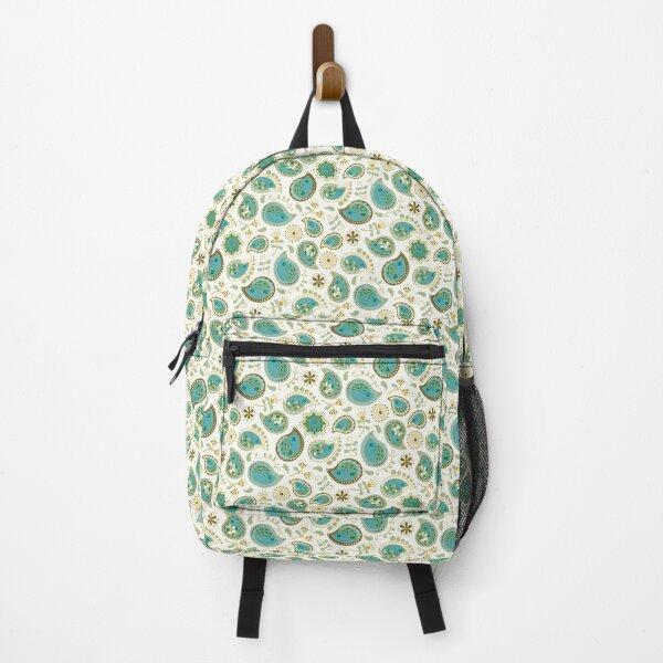 Hedgehog Paisley_Teal BgWhite Backpack