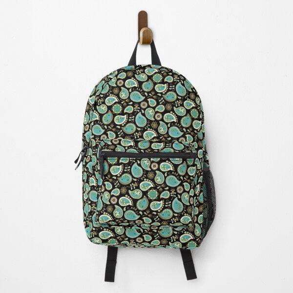 Hedgehog Paisley_Teal BgBlack Backpack