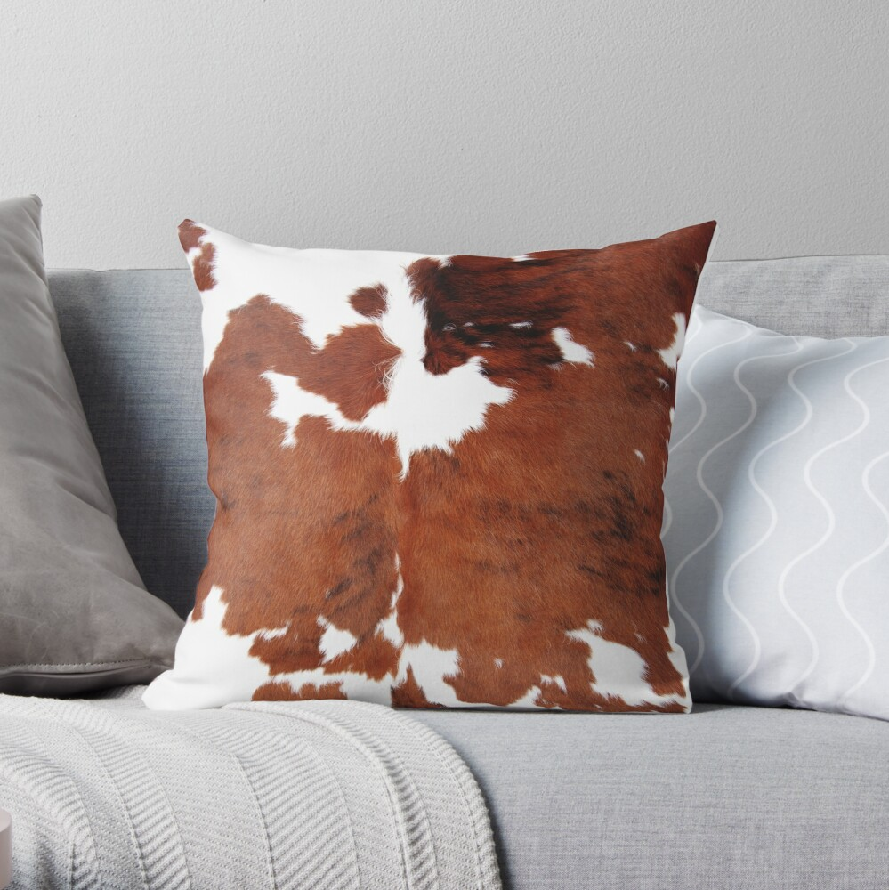 Patch of Cowhide Throw Pillow