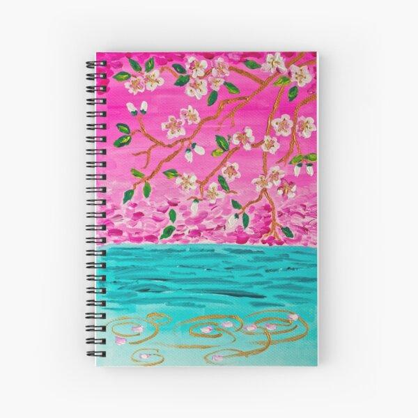 Cherry Blossom Branch Sakura Water Ripples Acrylic Painting Spiral Notebook