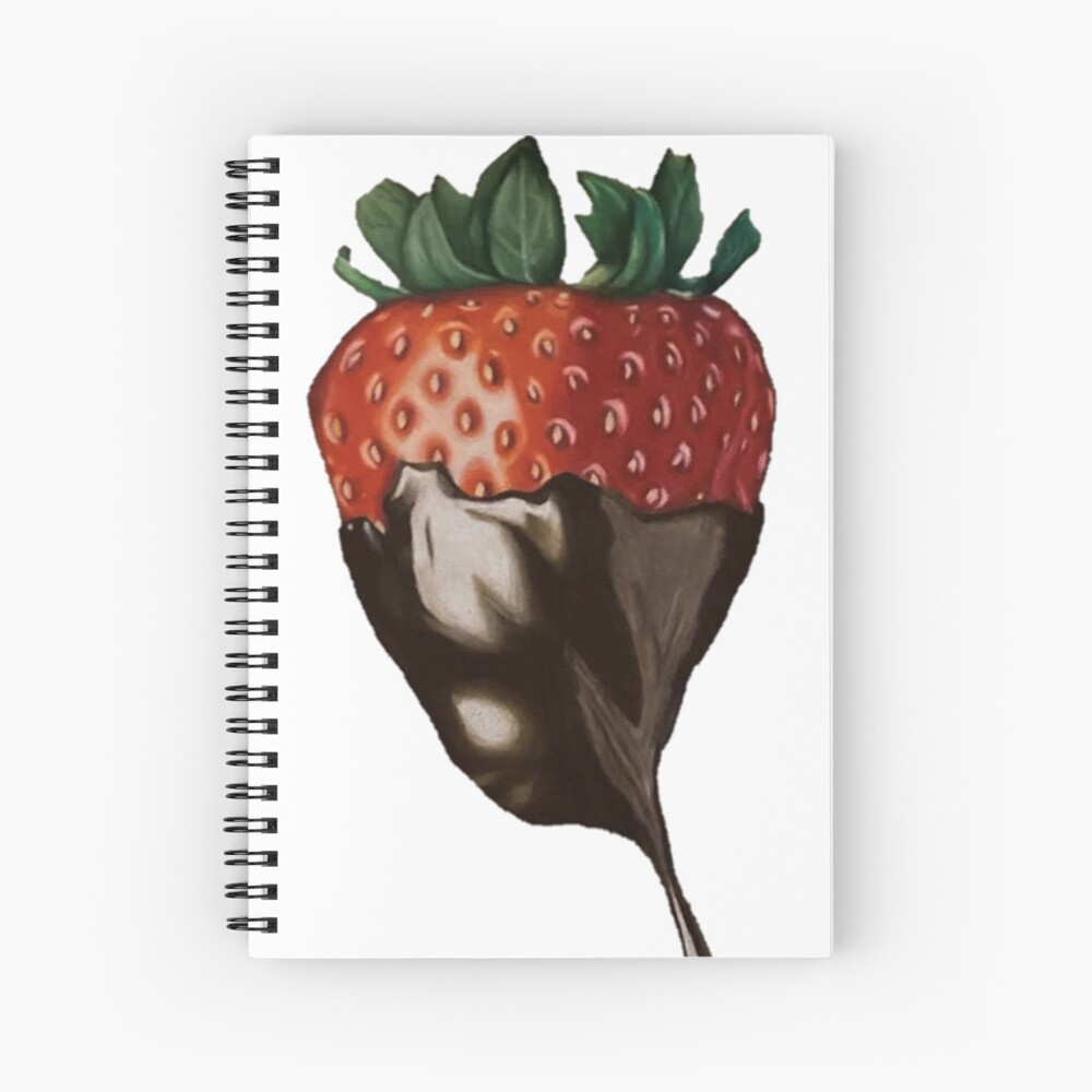 Single Chocolate Strawberry Drawing Spiral Notebook By Emilyy215 Redbubble
