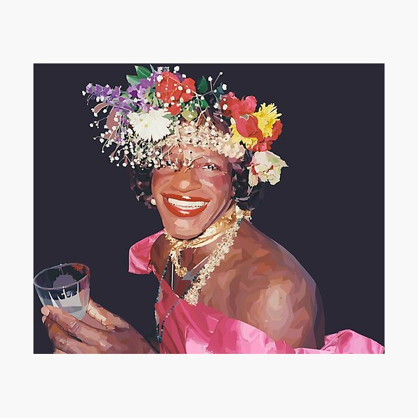 """Marsha P. Johnson"" - Stained Glass Style Digital Painting - 50% of Proceeds Donated to the ACLU Photographic Print"