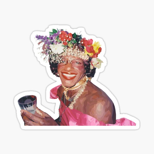 """""""Marsha P. Johnson"""" - Stained Glass Style Digital Painting - 50% of Proceeds Donated to the ACLU Sticker"""