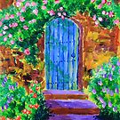 Blue Wooden Door to Secret Rose Garden by Beverly Claire Kaiya