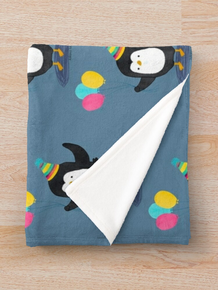 Alternate view of Birthday Penguin Throw Blanket