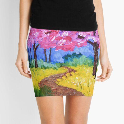 Cherry Trees Field Mustard After the Rain Painting Mini Skirt