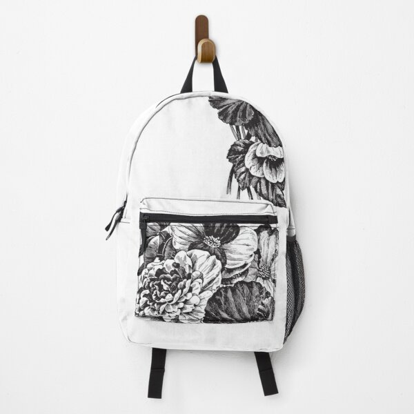 Flower Bouquet roses black and white art 2 Backpack