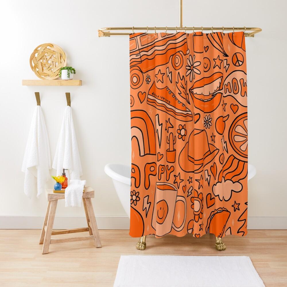Orange Print Shower Curtain