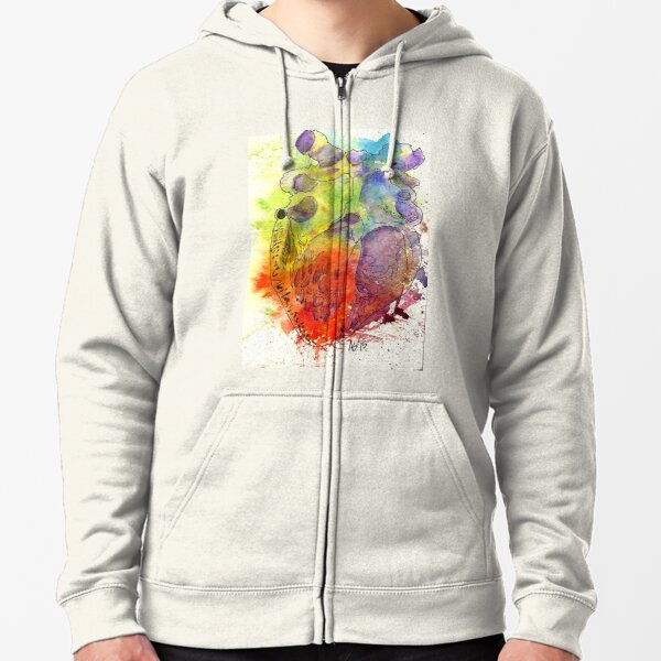 Anatomically Correct Rainbow Watercolor Heart Zipped Hoodie
