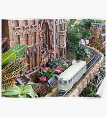 Model Streetcar, Model Building, New York Botanical Garden Holiday Train Show, Bronx, New York Poster