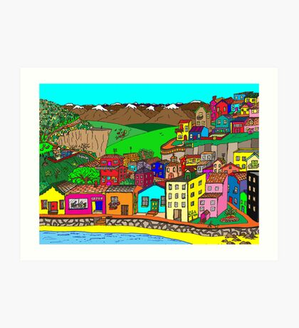 Valparaiso inspired village Art Print