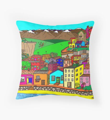 Valparaiso inspired village Throw Pillow