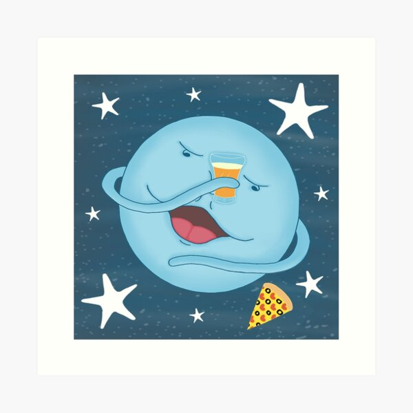❤️ Cute Blue Moon, Pizza & Beer Cheers Cartoon Art Print