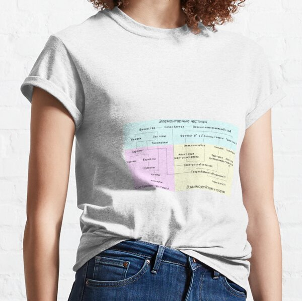Краткий обзор различных семейств элементарных и составных частиц и теории, описывающие их взаимодействия Classic T-Shirt