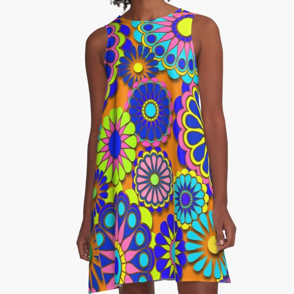 Flower Power Estilo Retro Hippy Flowers Vestido acampanado