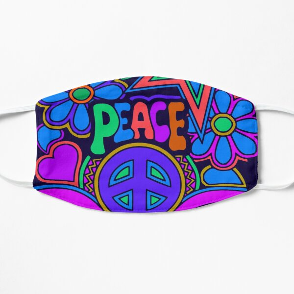 Peace and Love Flowers and Stars Hippie Design Mask