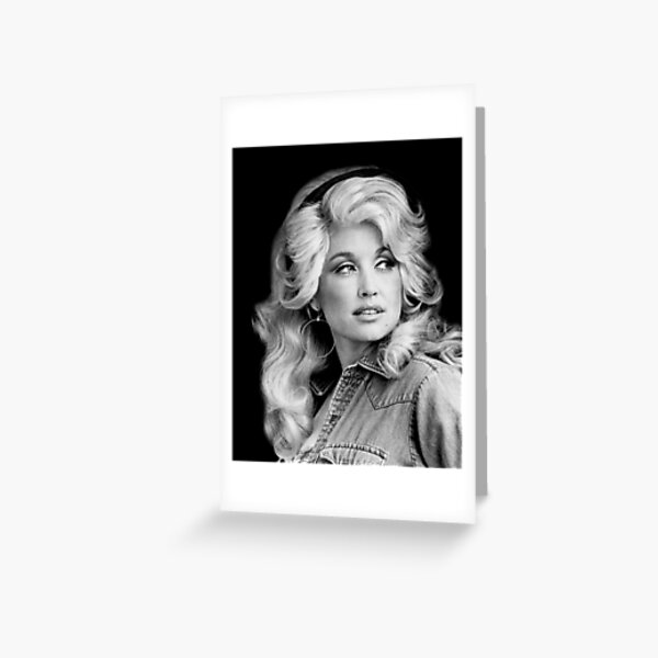 Dolly Parton Sticker in Black and White Greeting Card