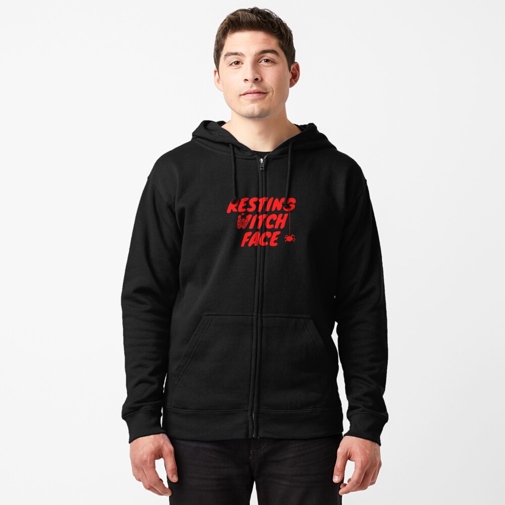 Resting Witch Face Halloween  Zipped Hoodie