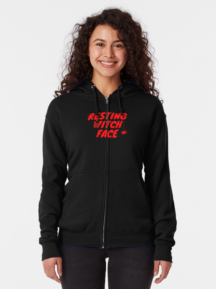 Alternate view of Resting Witch Face Halloween  Zipped Hoodie