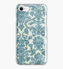 Light Blue Vintage Floral Wallpaper iPhone Case/Skin
