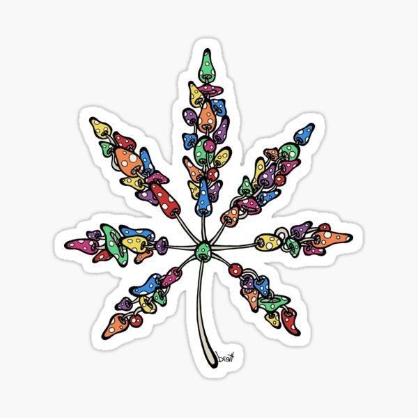 Marijuana Leaf Made of Mushrooms (multi-color version) Sticker