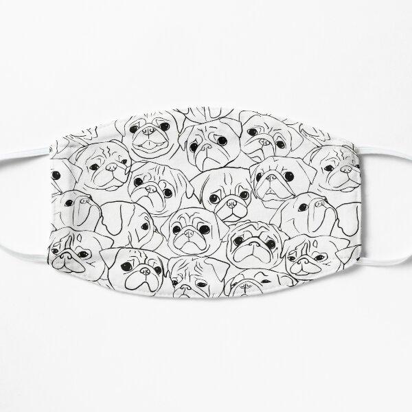 Pugs Line Drawing Pattern Flat Mask
