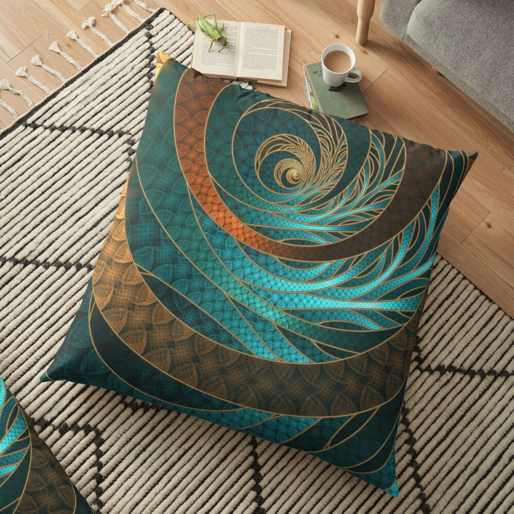 Beautiful Corded Leather Turquoise Fractal Bangles Floor Pillow