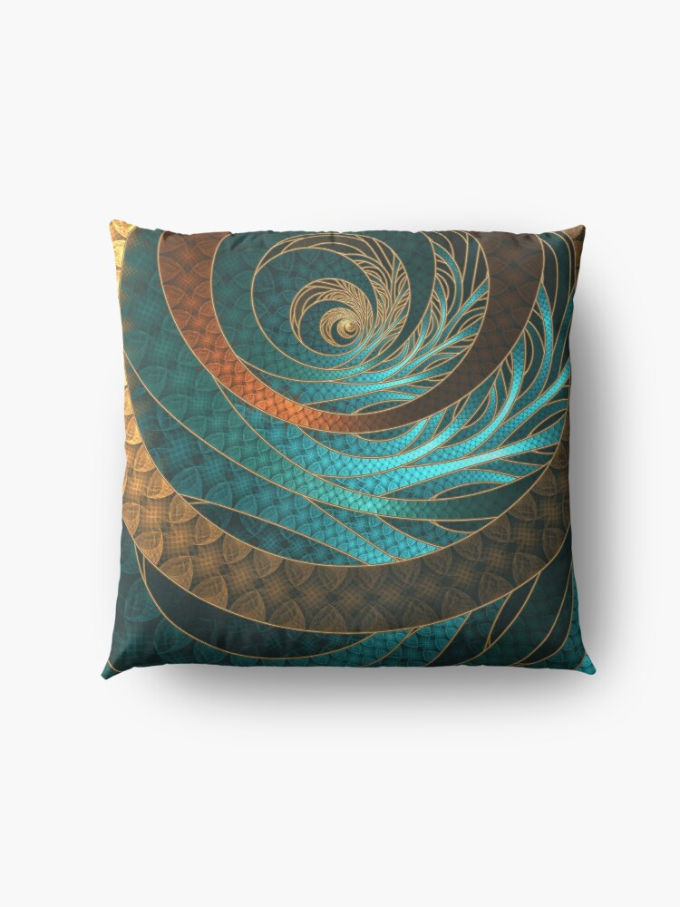 Alternate view of Beautiful Corded Leather Turquoise Fractal Bangles Floor Pillow