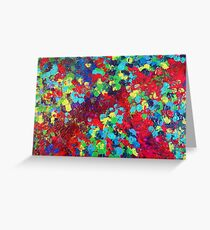 POND IN PIGMENT Bright Bold Neon Abstract Acylic Floral Aquatic Painting Greeting Card