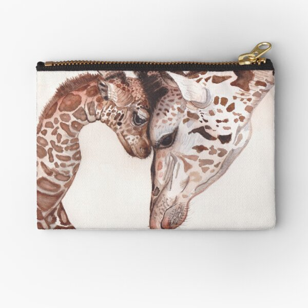 Mom and Baby Giraffe Watercolor Painting Zipper Pouch