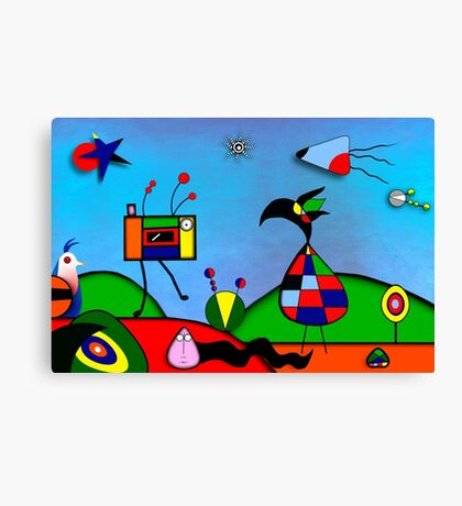 My Homage To Miro - The Raven King and I Canvas Print