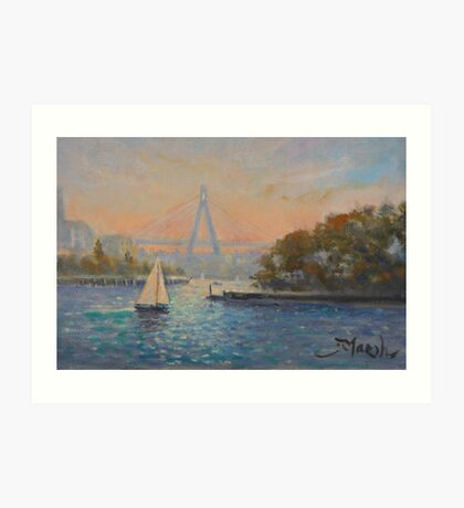 Anzac Bridge from Barangaroo, Sydney Art Print