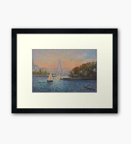 Anzac Bridge from Barangaroo, Sydney Framed Print