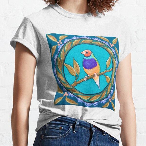 T-shirt Femme Col Rond Oiseau Exotique Gouldian Finch Multicolor
